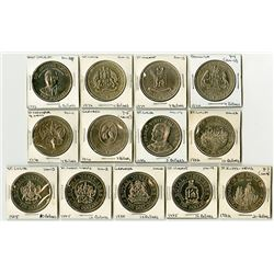 A Brilliant Uncirculated Grouping of 13 Caribbean Crowns ca.1970-80s