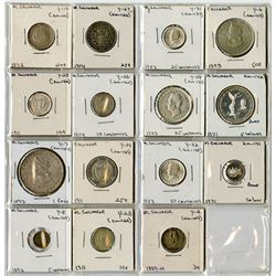 A Nice Assortment of Silver Coins from El Salvador, 1889 to 1971