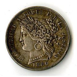 Peru, KM# 201.2, 1880 BF 5 Pesetas Silver