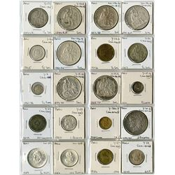 Peruvian Coin Assortment Including Many Nice Silver Coins