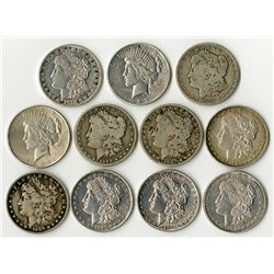 Morgan & Peace Dollar Assortment, Mostly polished but a Couple Better Lot of 11.