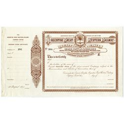 Argentine Great Western Railway Co. Ltd. 1899 Specimen Stock Certificate.