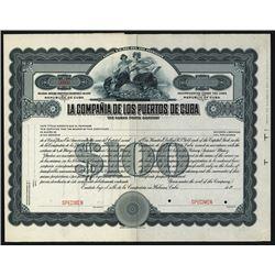 Compania de Los Puertos de Cuba 1911 Specimen Shares.