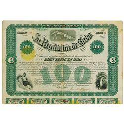 La Republica De Cuba, 1872, 100 Pesos Bond.