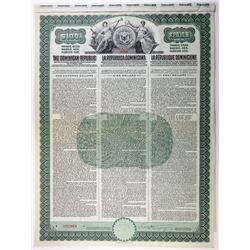 Dominican Republic 1908 Specimen Bond.