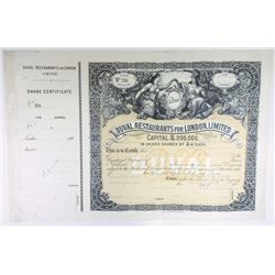 Duval Restaurants For London, Limited, 1890's Specimen Share Certificate.