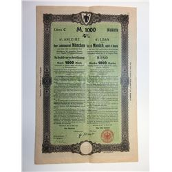 City of Munich & City of Stuttgart. 1920-1923. Pair of Bonds.