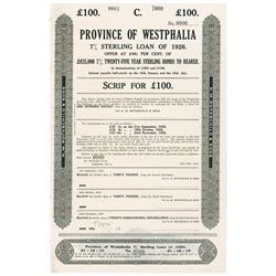 Province Of Westphalia, 7% Sterling Loan of 1926 Specimen.