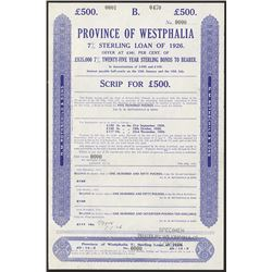 Province of Westphalia, 7% Sterling Loan of 1926, 1926, Specimen Bond.