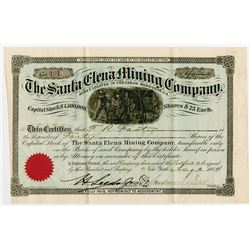 Santa Elena Mining Co., 1884 Issued Stock Certificate