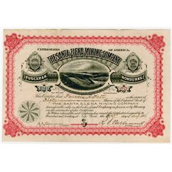 Santa Elena Mining Co., 1886  Issued Stock Certificate