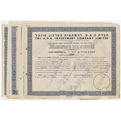 A.P.B. Investment Co. Ltd., 1945-1953 Group of 8 Cancelled Share Certificates