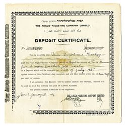 Anglo-Palestine Co. Ltd. Deposit Certificate, 1927