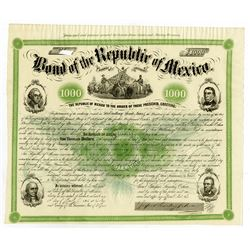 Bond of the Republic of Mexico, $1000, 1865 Signed by General Ocha.