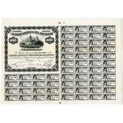 Ferro-Carriles Del Distrito, 1883 Unique Approval Proof Bond.