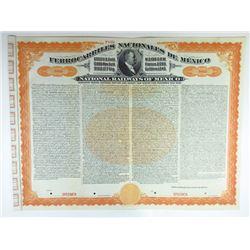 Ferrocarriles Nacionales De Mexico, 1907 Specimen Gold Bond.