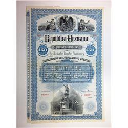 Republica Mexicana Deuda Consolidada de Los Estados Unidos Mexicanos, 1885 Specimen Bond Rarity.