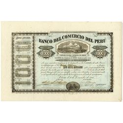 Banco del Comercio del Peru, 1882 Issued Bond