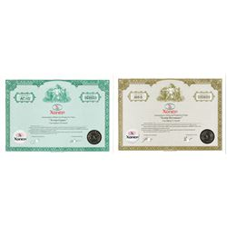 Khopyor-Garant. Circa 1993-1994. Pair of Specimen Stock Certificates.