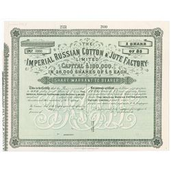 Imperial Russian Cotton & Jute Factory Ltd. Specimen Stock Certificate.