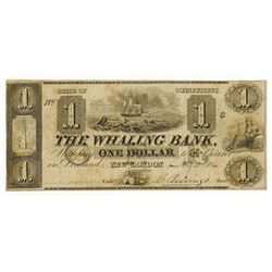 The Whaling Bank, 1841 Issued Obsolete Banknote with Whaling Vignette Unique to this Note.