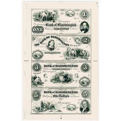 Bank of Bloomington 1850's (1960-70's Reprint) Uncut Sheet of 4 Proprietary Proofs.