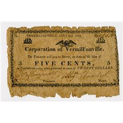 Corporation of Vermillionville, 1862 Obsolete Scrip Note.