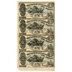 State of Louisiana, 1862 Uncut sheet of 4 Notes.