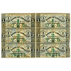 State of Louisiana, 1862 Uncut sheet of 6 Notes printed on the back of Holly Springs Mississippi, Ex