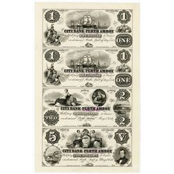 City Bank of Perth Amboy, 1856 Uncut Proof Sheet of 4 Notes
