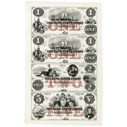 City Bank of Perth Amboy, 1856 Uncut Proof Sheet of 4 Notes with Red Protector.