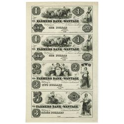 Deckertown, Farmers Bank of Wantage, $1-1-2-3  Baldwin Adams Proprietary Proof Sheet
