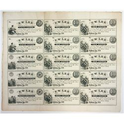 E.W. Lee, Ballston Spa, NY, 1862 Uncut Obsolete Remainder Sheet of 15 Notes.