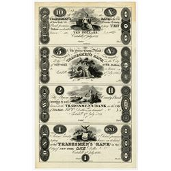 Green County Bank Promises to Pay to Tradesmen's Bank, 1823 Uncut Reprint Proof Sheet of 4 Notes