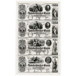 Knickerbocker Bank, 1848-51 Uncut Proof Sheet of 4 Notes
