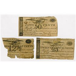 Trio of 1816 Princetown, 12 1/2, 25 and 50 Cents Scrip Notes
