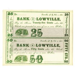 Bank of Lowville, 1862, Uncut Pair of Notes
