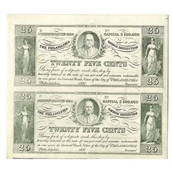 The Philadelphia Savings Institution, 1937, Uncut Proof Reprint Pair.