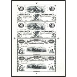 Union Bank of Tennessee Uncut Sheet of 4 Black & White Proprietary Proofs.