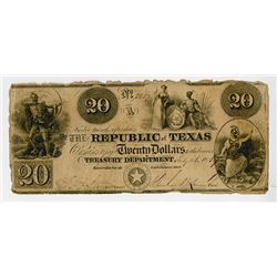 Republic of Texas, 1839 Obsolete Banknote.