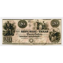 Republic of Texas  $20 1840, A-6, Indian shoots bow and arrow, dead bear, five-pointed star. Very Fi