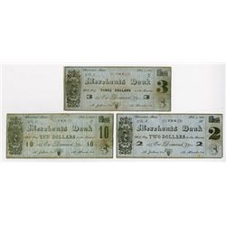 Merchants Bank 1864 Obsolete College Currency Trio and all Unlisted in Schingothe.