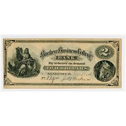 Buckeye Business College Bank, 1874 Obsolete College Currency.