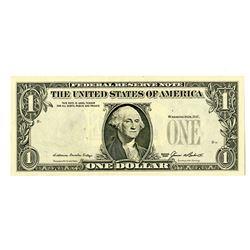 F.R.N., $1, Series 1985, Error, Serial Numbers and Seals Overprinted on Back.