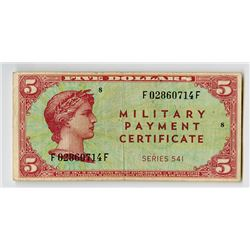 Military Payment Certificate, $5, Series 541, ND (1958) M.P.C. Note