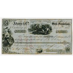 "Adams & Company, San Francisco, Express Office 1853 ""Sonora"" Issue Gold Rush Era Exchange"