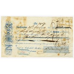 Rothchild Brothers 1861 2nd of Exchange from San Francisco to Paris.