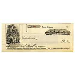 Holiday Overland Mail & Express Co., 186x, Remainder Check