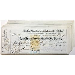 Bowling Green Savings Bank - Central Department of Police, 1870's Nice Assortment of 20