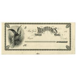 Mechanics National Bank. 1870's. Proof Check.